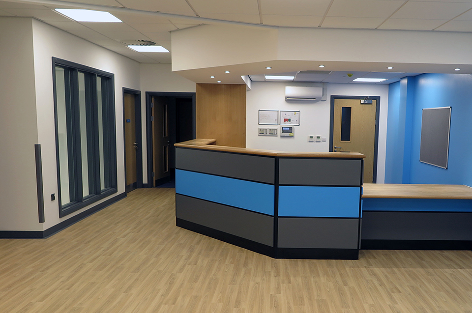 Halycon Medical reception area fit out in Nottingham